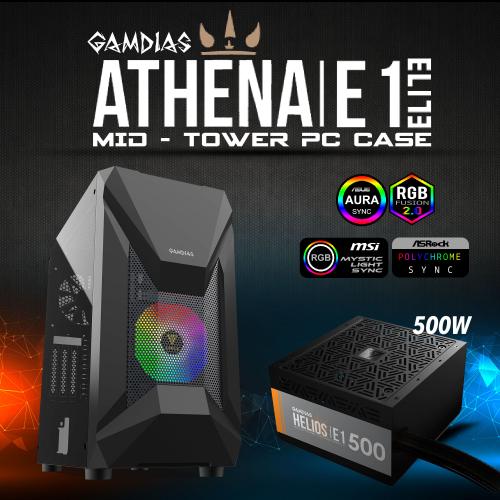GAMDIAS ATHENA E1 Elite Tempered Glass Mesh ARGB  500W GAMING KASA