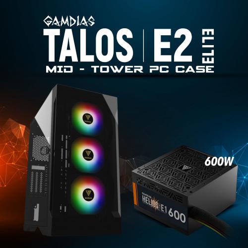 GAMDIAS TALOS E2 Elite Tempered Glass ARGB 600W GAMING KASA