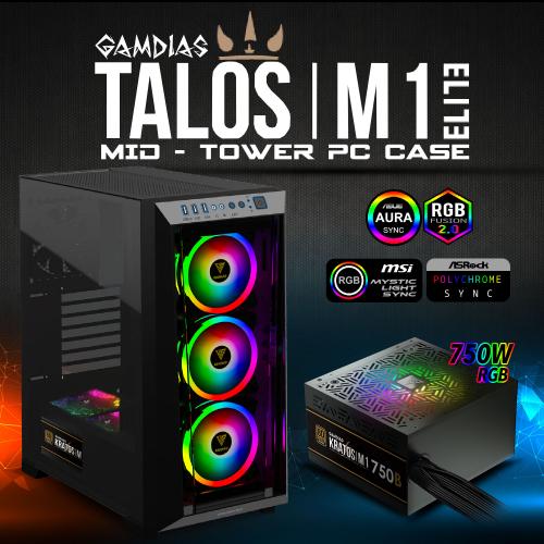 GAMDIAS TALOS M1 Elite Tempered Glass ARGB 750W 80+ Bronze GAMING KASA